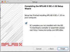 MPLAB X IDEのインストーラーの最後