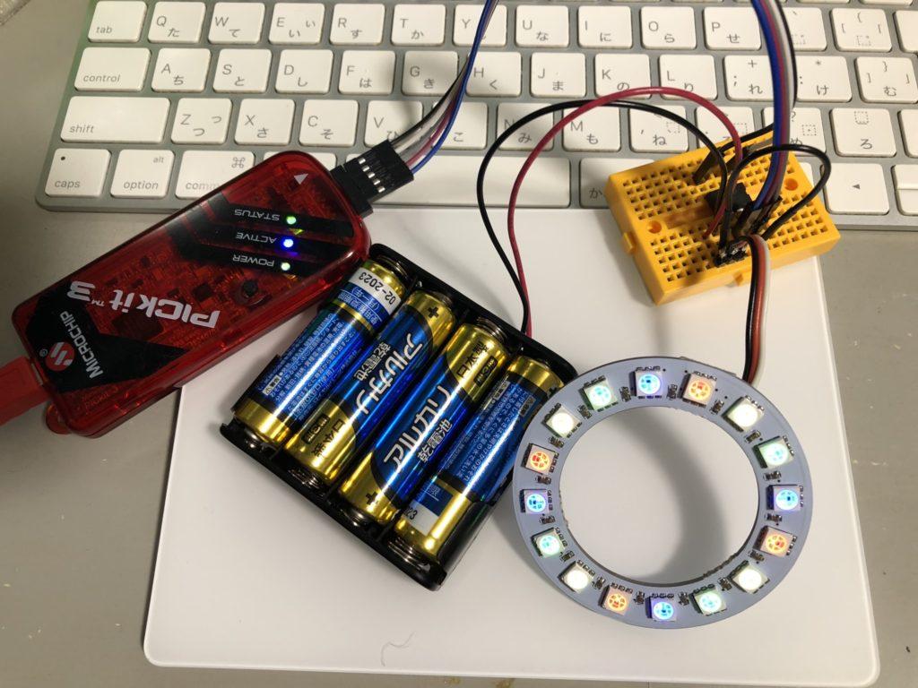 FC-102をPIC12F1822で制御。 電池はFC102の駆動用。