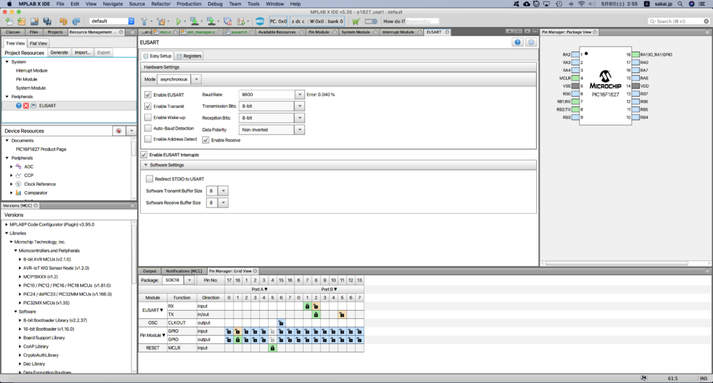 MCCでのEUSARTの設定。 デフォルトからEnable EUSART InterruptsをONにしただけ。