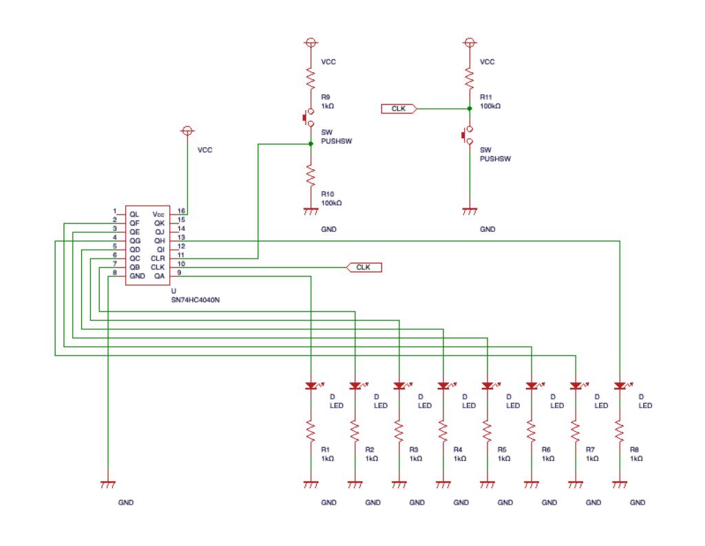 回路図。12ステージバイナリカウンタとリセット、パルス(クロック)用スイッチ。